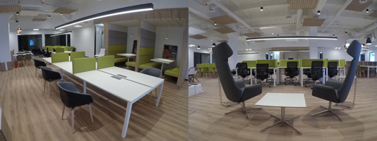 finished project with creative furniture in open space office